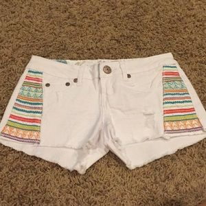 Vanilla Star Shorts - White Denim Shorts with Colorful Embroidered Sides